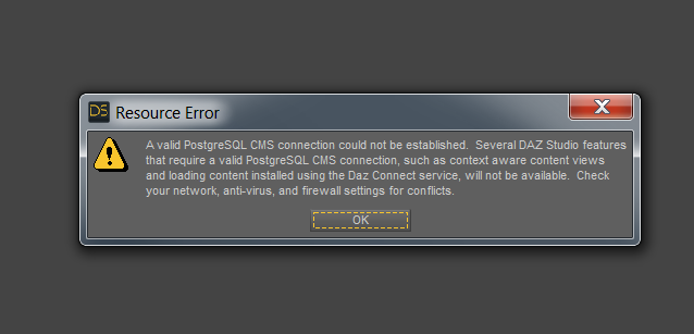 PostgreSQL Connection Error and No Smart Content – Daz 3D Help Center
